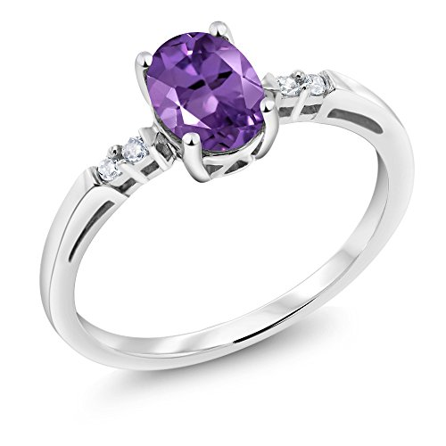 14K White Gold 0.78 Ct Oval Purple Amethyst White Diamond Women's Ring (Ring Size 9) (Gold Ladies Fashion Amethyst Ring)