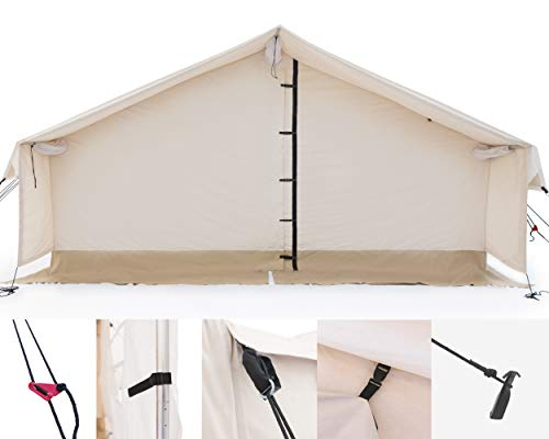 Outdoor Waterproof Large Canvas Wall Tent w/Heavy Duty Aluminum Frame, Angle Kit & PVC Floor best tents for 6 person tent, 8 person tent, 10 person tent for 4 season Hunting & Family Camping 16×20 FWR