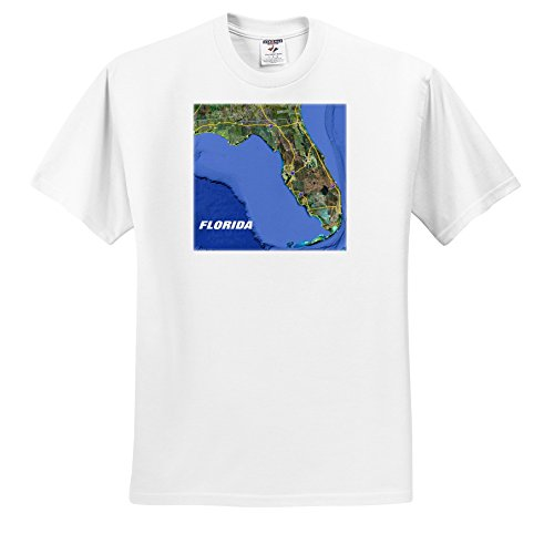 3dRose Florene - Aerial Photography - Print Of Snow Bird Routes To Florida On State Map - T-Shirts - Adult T-Shirt Large (TS_205074_3) (Aerial Photography Map)