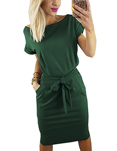 PRETTYGARDEN Women's 2018 Casual Short Sleeve Party Bodycon Sheath Belted Dress with Pockets (Dark Green, Large) by PRETTYGARDEN