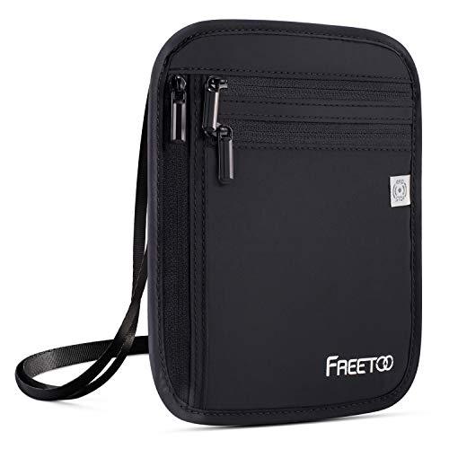 FREETOO Travel Neck Wallet & Hidden Passport Holder with RFID Blocking, Travel Neck Pouch Document Bag for Men/Women