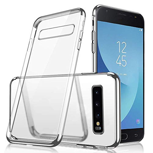 (Herbests Compatible with Samsung Galaxy S10e Case Clear Soft Silicone TPU Case with Plating Frame Electroplated Bumper Ultra-Thin Anti Scratch Slim Fit Transparent Flexible Cover,Silver)