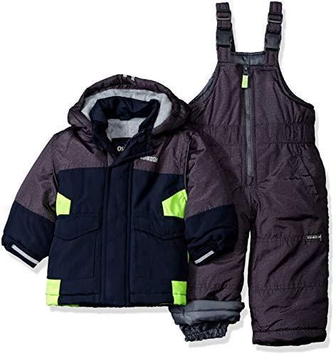 OshKosh B'Gosh Baby Boys Ski Jacket and Snowbib Snowsuit Set, Heather/Navy/Galactive Green, 12M