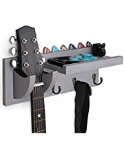 $25 » Bikoney Guitar Wall Hanger Guitar Holder Wall Mount Bracket Hanger Guitar Wood Hanging with Pick Holder and 3 Hook