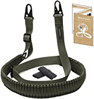 HuaQue 2-Point Paracord Rifle Sling with Metal Snap Hooks, Adjustable Gun Sling with Length Adjuster Straps/Sl