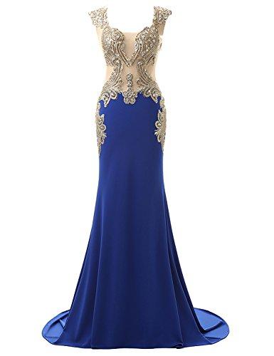 Belle House Mermaid Prom Dresses 2018 Beaded V Neck Off The Shoulder Evening Dresses Long for Women Formal Wedding Party Dresses Royal (Belle Ball Dresses)