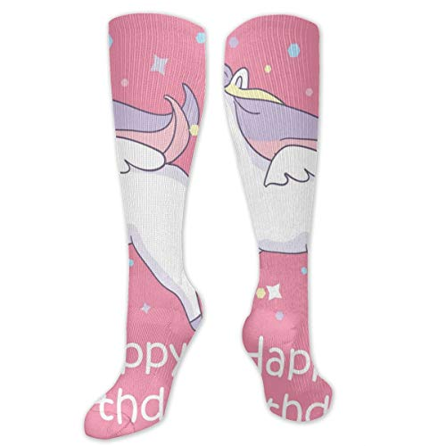 Sourde Fashionable Beautyful Unicorn On Pink Background With Baloons Customized Running, Nurses, Football Socks, Softball, Baseball,Volleyball Socks -