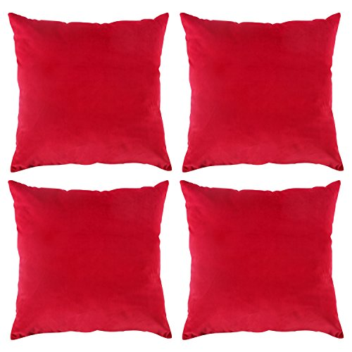 Deconovo Solid Luxurious Smooth Velvet Pillow Cases Christmas Red Cushion Covers with Invisible Zipper for Sofa 18 x 18 Inch Red 4 pcs (Couch Red For Sale Pillows)