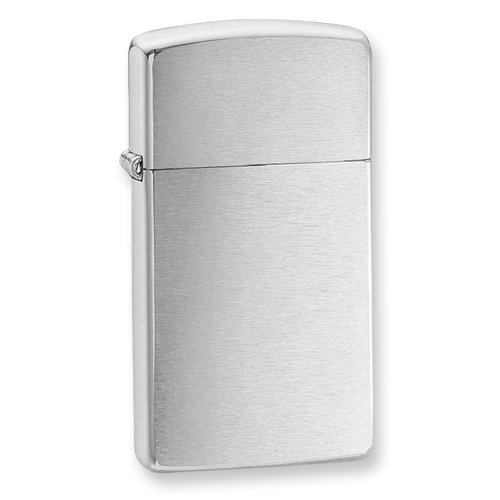 Zippo Slim Brushed Chrome Lighter - Engravable Personalized Gift Item