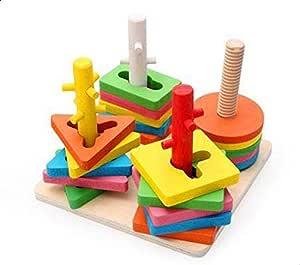 Wooden Four-Column Building Blocks Intelligence Toys