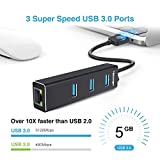 TECKNET Aluminum 3-Port USB 3.0 Hub with RJ45