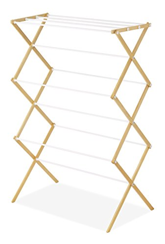 Whitmor Drying Rack with Top Shelf-Indoor and Outdoor-Foldable-Natural, Wood by Whitmor (Image #3)