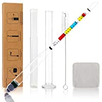 Circrane Hydrometer & Glass Test Jar Set, Triple Scale Alcohol Hydrometer with Glass Cylinder for Brew Beer, Wine, Mead…