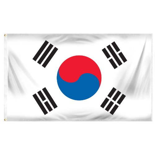 Online Stores South Korea Printed Polyester Flag, 3 by 5-Feet (Polyester Flag Printed)