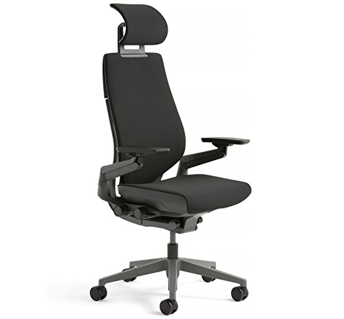 Steelcase Gesture Office Desk Chair with Headrest Plus Lumbar Support Cogent Connect Licorice Fabric Standard Black Frame Hard Floor Caster Wheels Hard Floor Caster Wheels