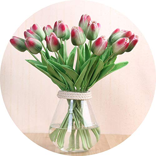 vibe-pleasure 10 Pcs Beauty Real Touch Flowers Latex Tulips Flower Artificial Bouquet Fake Flower Bridal Bouquet Decorate Flowers for Wedding,Green Pink ()