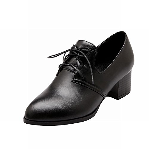 Pointed Shoes Heel Vintage Women's Chunky Oxfords Black up Carolbar Fashion Toe Lace Retro Mid 7tFwR