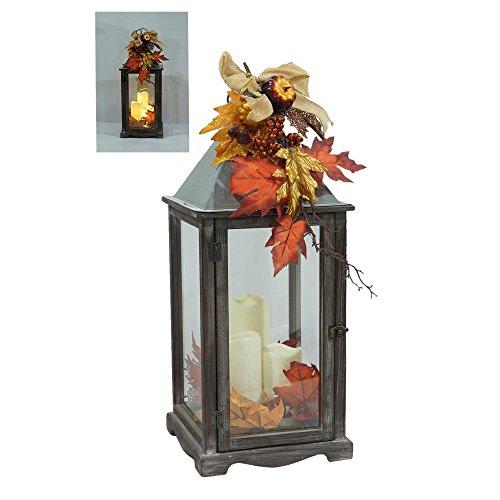 25.5 in. Weathered Wood and Metal LED Lantern (Cheap Metal Lanterns)
