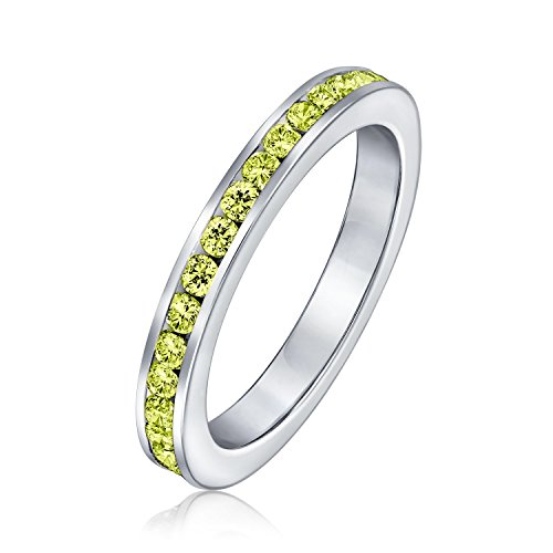(Yellow Cubic Zirconia Stackable CZ Channel Set Eternity Band Ring For Women Simulated Citrine Topaz 925 Sterling Silver)