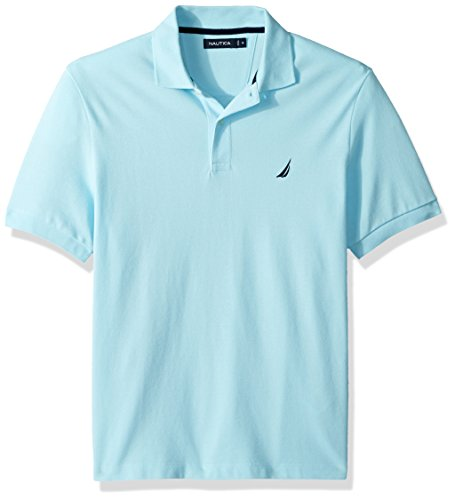 Bright Aqua Apparel - Nautica Men's Short Sleeve Solid Cotton Pique Polo Shirt, Bright Aqua, Large
