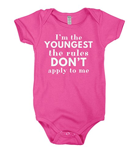 Mixtbrand Baby Boys' I'm The Youngest The Rules Don't Apply Infant Bodysuit 12M Hot - Suit Rules