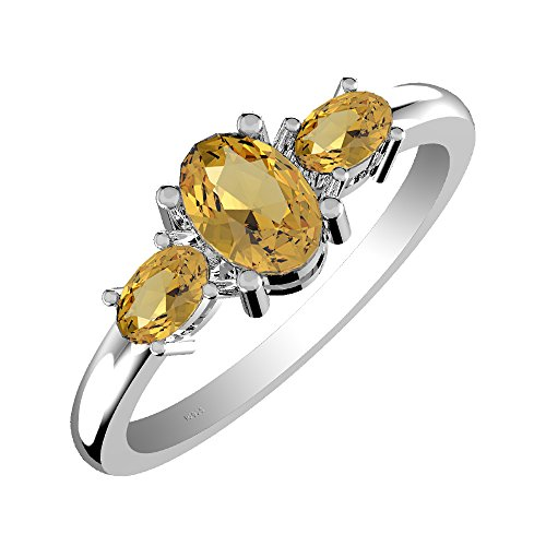 (1.60ct, Genuine Citrine 5x7mm Oval & Solid .925 Sterling Silver Ring)