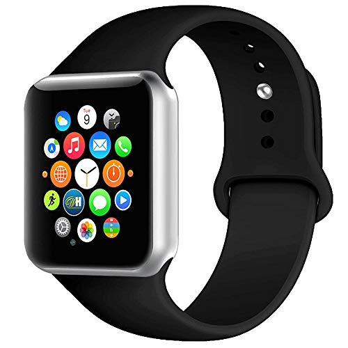 BOTOMALL Compatible with Iwatch Band 38mm 40mm 42mm 44mm Classic Silicone Sport Replacement Strap Bracelet for Iwatch All Models Series 4 Series 3 Series 2 1 (Black,38/40mm S/M)