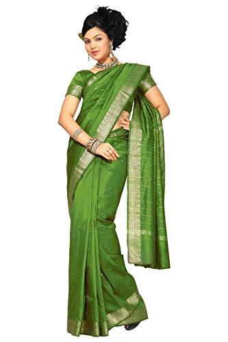 Sanskruti India Womens Indian Ethnic Traditional Banarasi Art Silk Saree Sari Wrap Fabric Dress Drape (Olive)