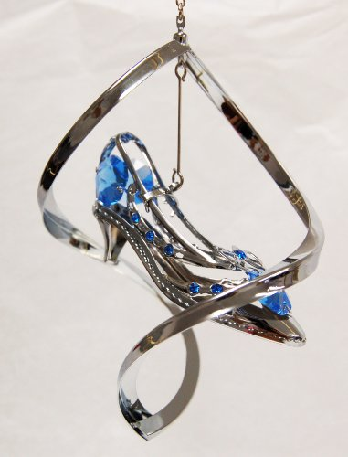 (Hanging Sun Catcher or Ornament..... Shoe with Bow in Spiral Shell with Blue Swarovski Austrian Crystals)