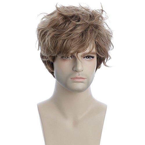 Karlery Men's Short Wave Brown Wig with Bangs Halloween Cosplay Costume Wig]()