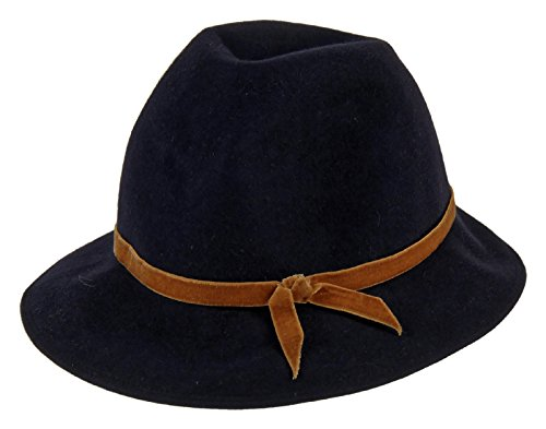 Patricia Underwood For J Crew Felted Fedora Hat One Size Navy W/ Brown Ribbon by Panama Hat for J Crew