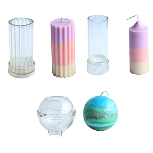 Pillar Ball - Candle Molds for Candle Making Plastic Pillar Candle Making Kit Ball Sphere Mold Large Cylinder Rib Candle Making Molds DIY Candle Making Supplies Set of 3 PCS