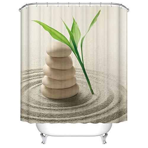(Fangkun Spa Decor Bamboo Shower Curtain Set - Zen Stone Garden Rocks Spa Bamboo Beach Art Bath Curtains - Polyester Fabric Waterproof Mildew - 12 Pcs Hooks (YL204#, 72 x 72 inches))