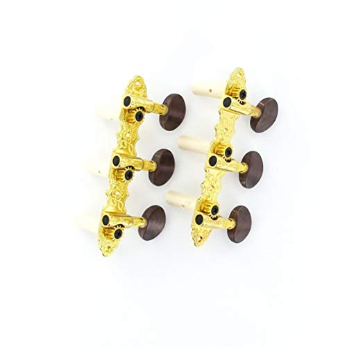SUPVOX 2pcs Classical guitar string tuning pegs tuner machine heads knobs tuning keys (Golden+Chocolate) ()