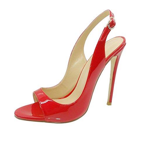Heels High mit Stiletto Schnalle Größe Rot Sandalen Peep Slingback Damenschuhe EDEFS Damen Toe Heel IaFwxqS