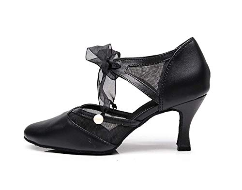 Ribbon Pumps colore Toe Tj7131 Qiusa Black Girls Ballroom Uk Dancing 5 Dimensione Ladies 6RqxSA