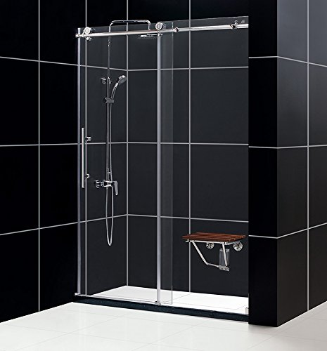 DreamLine Enigma-X 56-60 in. W x 76 in. H Fully Frameless Sliding Shower Door in Brushed Stainless Steel, SHDR-61607610-07 (Inch Tempered 1 Glass Prices 4)