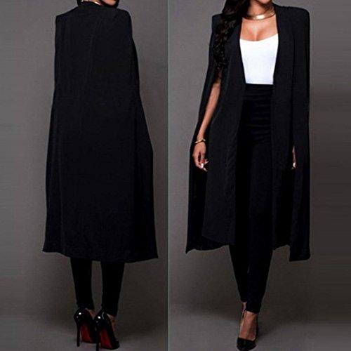 Femmes Noir Bluestercool Blazer Longue Cape qf5F7z
