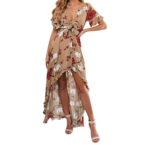 HAALIFE◕‿Women's Boho Deep V Neck Floral Chiffon Wrap Split Long Maxi Dress Khaki ()