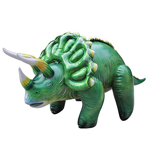 Jet Creations 43 inch Triceratops Inflatable Air Stuffed Plush Dinosaur, Durable Self Standing, one of the best toys, party decorations and favors for kids and adults, 6 years and up, DI-TRI4