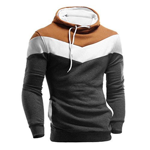 HOT ! Ninasill Mens Autumn And Winter Retro Long Sleeve Hoodie Hooded Sweatshirt Tops Jacket Coat Outwear (XL, Dark - Hours Store Solstice