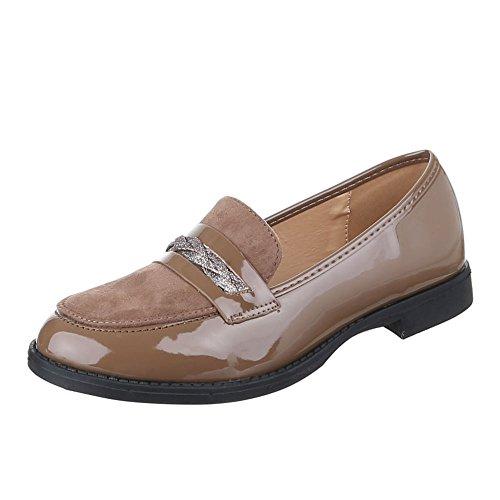 Ital-Design - Zapatillas de casa Mujer marrón y gris