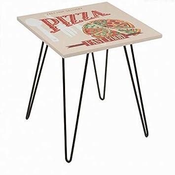Eurowebb Mesa Cuadrada Pizza Beige - Mesa Sonora con Dibujo ...