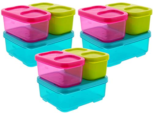 Rubbermaid Lunchblox Kids Lunch Box Container Set - Snap & Stack Containers w/Easy Open Lids - Great for Home, School, Travel - Turquoise, Pink, Green (3 Kits)