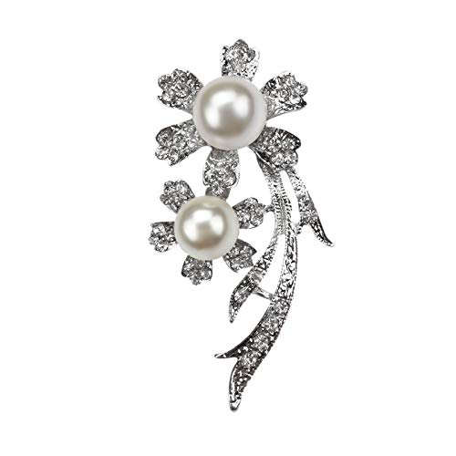 Brand Factory Direct Sale Crystal and Simulated Pearl Floral Brooches Costume Jewelry in gold and silver color ()