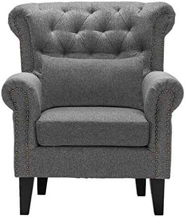 Fabric Arm Chair Upholstered Mid Century Wingback Armchair Single Sofa Armchair Modern Accent Chair