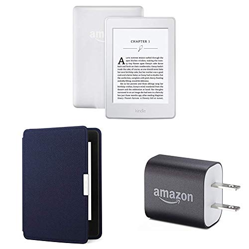 "Kindle Paperwhite Essentials Bundle including Kindle Paperwhite 6"" E-Reader (Previous Generation - 7th), White , Amazon Leather Cover - Ink Blue, and Power Adapter"
