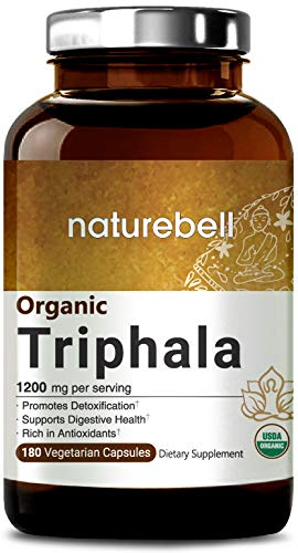 Maximum Strength Organic Triphala 1200mg, 180 Veggie Capsules, Powerfully Supports Digestive Health & Detoxification, Rich in Antioxidants & Vitamins, Non-GMO, Vegan Friendly and Made in USA