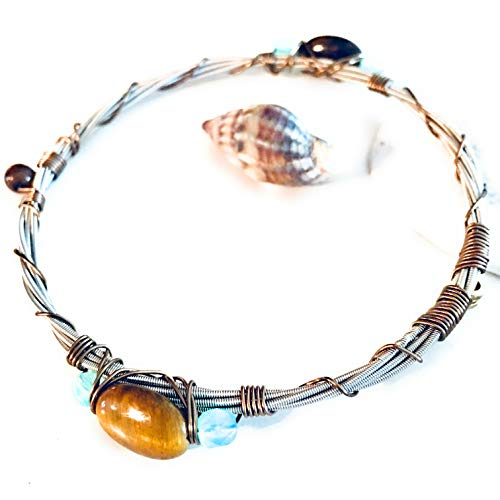 "- ""Montreux Jazz"" Guitar String Bangle Bracelet with Czech Glass and Tigers Eye"