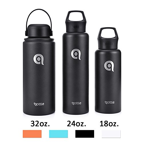 qottle 32oz Stainless Steel Vacuum Insulated Water Bottle - Large Double Wall Flask - Wide Mouth with BPA Free Flex Cap Leak Proof Thermos for Gym Office Travel Camping Hiking Outdoor Sports-Black